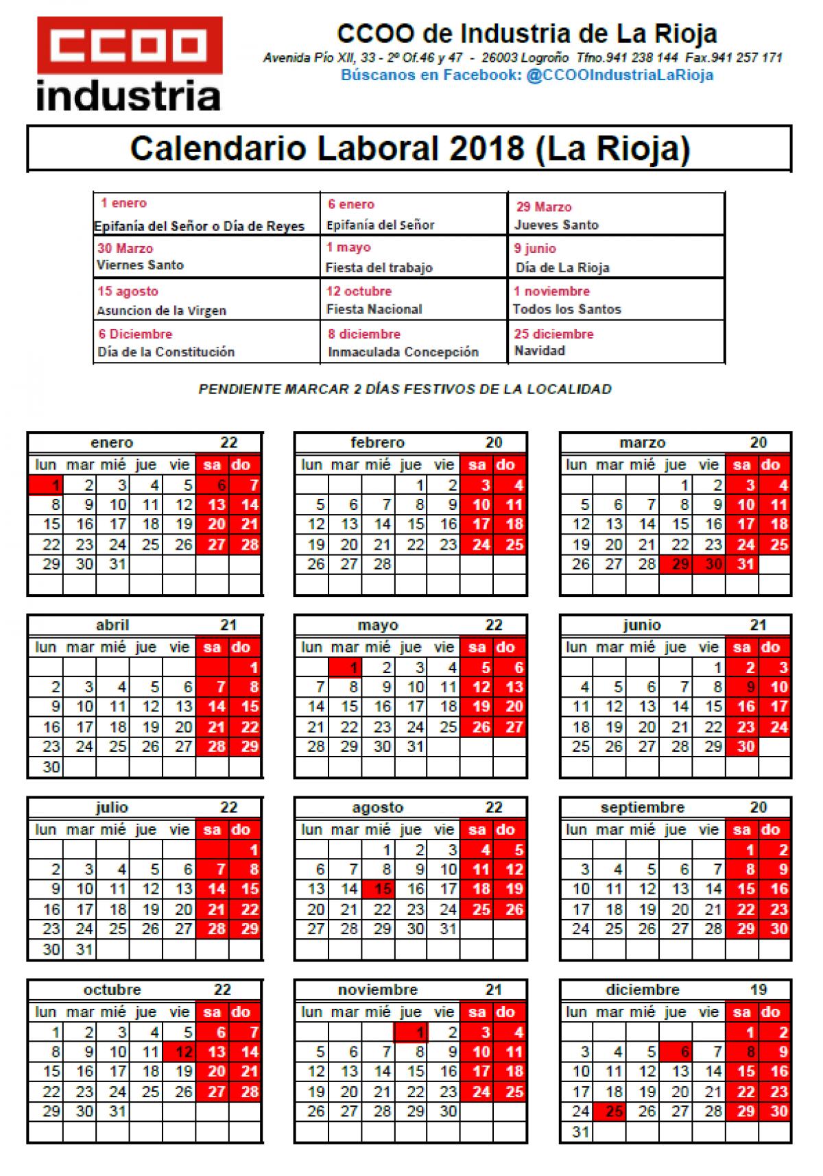 Calendario Laboral Pontevedra 2020.Ccoo De Industria La Rioja