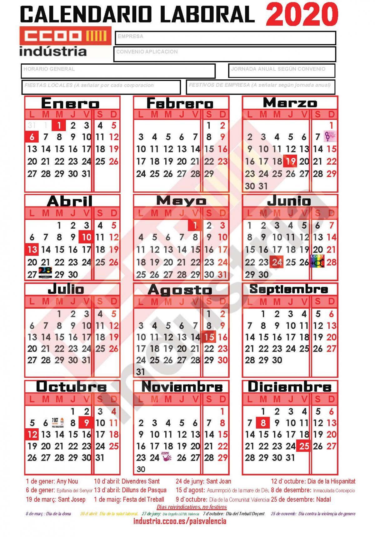 Calendario Laboral 2020 Comunidad Valenciana Dogv.Ccoo De Industria
